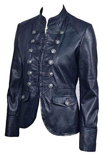 Boots And Leather Señoras de Las Mujeres Azul Marino Desfile Militar Estilo Suave Piel de Cordero Chaqueta Nuevo (EU 38 / UK 10)