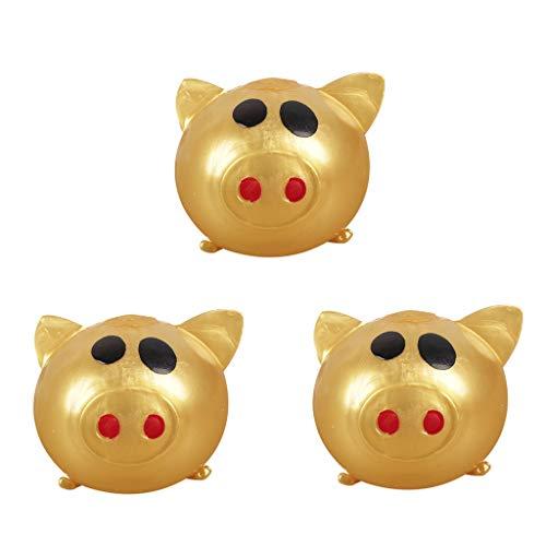 Juguete de descompresion,CHshe,3Pc Jello Pig Cute,Anti Stress Splat Water Pig Ball Vent Toy,Venting Sticky Pig,regalos para amigos y familiares (Oro)