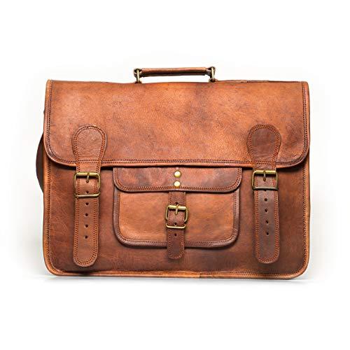 NAMA 'Samuel' Schultertasche Echtes Leder 16 Zoll Messenger Bag Vintage Aktentasche Business Tasche Unitasche Laptoptasche Umhängetasche Naturleder Braun