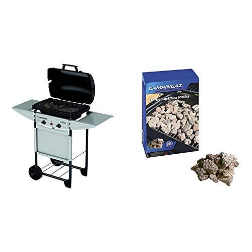 Campingaz Expert Plus Barbecue Gas con Pietre Laviche, Grill Barbecue Compatto a Gas con 2 bruciatoreiatore, Potenza 7 kW, Cavo in Acciaio Cromato, 2 Ripiani Laterali & Roccia Lavica