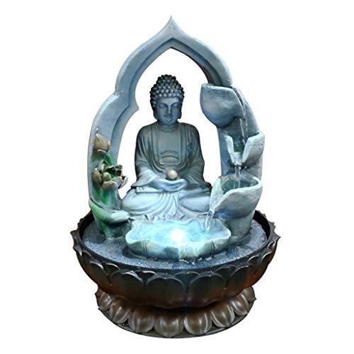 Cascada Decorativa Fuente de Buda - Cascada de la Fuente de Agua de la Mesa de la Mesa de Buda Zen de 13 Pulgadas con la Fuente de Lotus Buddha de Nebulizer for el Escritorio de Mesa Interior.
