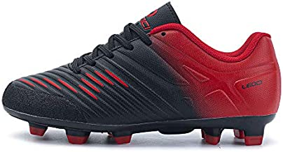 LEOCI Soccer Shoe - Boy and Kids' and Toddler Outdoor Coomfortable Soccer Cleat (Black&Red, Numeric_4_Point_5)
