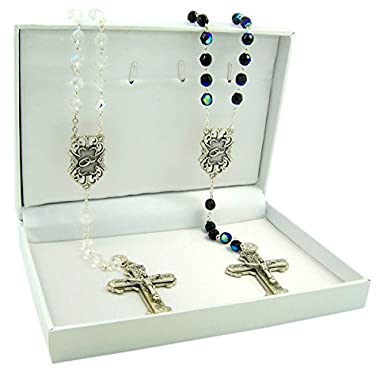 Black and White Acrylic Prayer Bead Wedding Rosaries Gift Set for Bride and Groom, 18 Inch