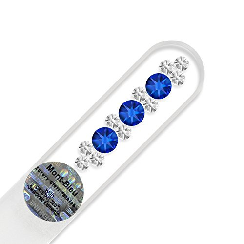 Petite lime à ongle en verre ornées à la main de cristaux de Swarovski Elements, pochette en velours noir   Véritable verre trempé tchèque, garantie à vie, Lime à ongles fait main en cristal