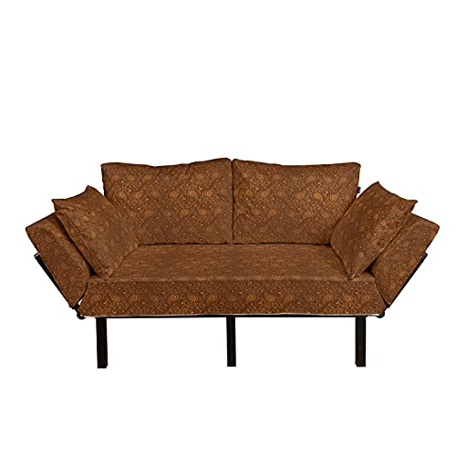 Lunarable Brown Paisley Futon Couch, Classical Look Eastern Folk Inspired Motifs Print in Warm Brown Tones, Daybed with Metal Frame Upholstered Sofa for Living Dorm, Loveseat, Ginger Chocolate