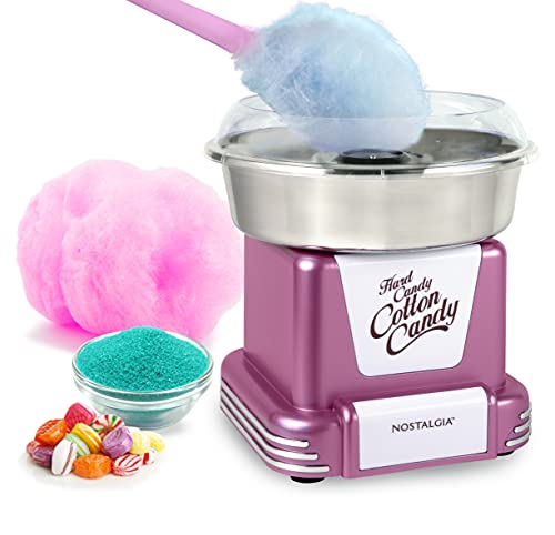 Nostalgia Retro Hard Free Countertop Cotton Candy Maker with Stainless Steel Bowl, Includes 2 Reusable Cones and Sugar Scoop, Pink