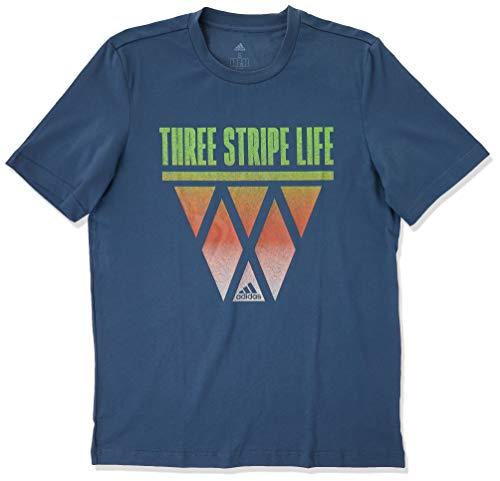 adidas 3-Stripes Hoops Camiseta, Azul, Large para Hombre