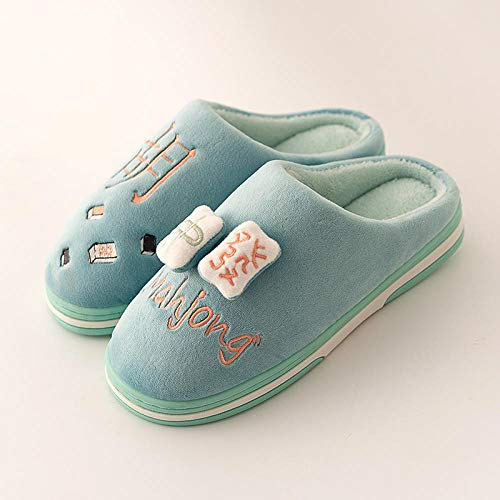 YUTJK Washable Flat indoor/outdoor Ice Slippers,Girls Daughter Chinese Mahjong Warm Clogs,Men's Boys Spring Winter Indoor Outdoor Mules,Camping Tent Sliders Slippers-green_3.5/4.5UK