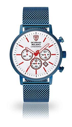 DETOMASO Milano XL Herren-Armbanduhr Chronograph Analog Quarz Edelstahlgehäuse - Jetzt mit 5 Jahre Herstellergarantie (Milanaise Blau - Weiß)