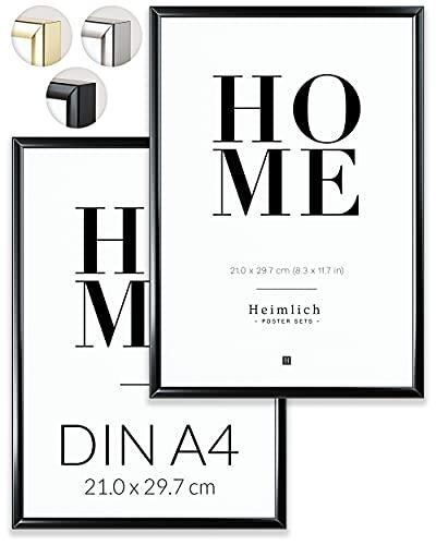 Heimlich Paquete Doble (2 pcs.) Marcos de Aluminio - con plexiglás inastillable - DIN A4 (21x30cm) Negro