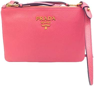 Prada Bandoliera Peonia Pink Pebbled Leather Crossbody Handbag 1BH046 product image