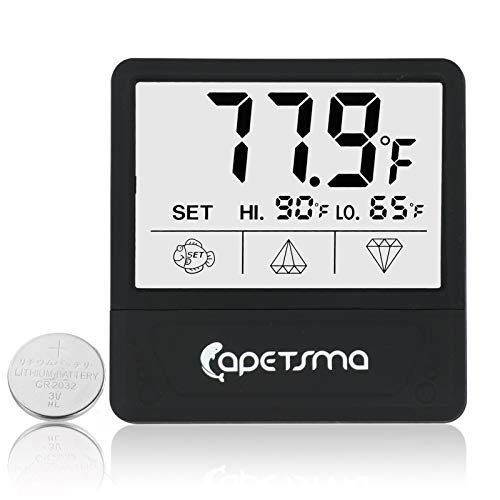 Aquarium Thermometer, Digital Fish Tank Thermometer with Large LCD Display Touch Screen, Stick-on Tank Temperature Sensor Ensures Accurate Reading for Aquarium Terrarium Amphibians & Reptiles