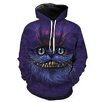Papertiger Blue Eyes Smiling Purple Cat Print Fun 3D Hoodie