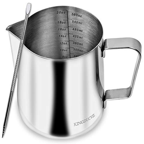 Milk Frothing Pitcher, Milk Frother Cup 20oz/600ml, Espresso Steaming Pitcher, Latte Art Pitcher, Stainless Steel Milk Steaming Pitcher with Tick Mark & Decorating Art Pen
