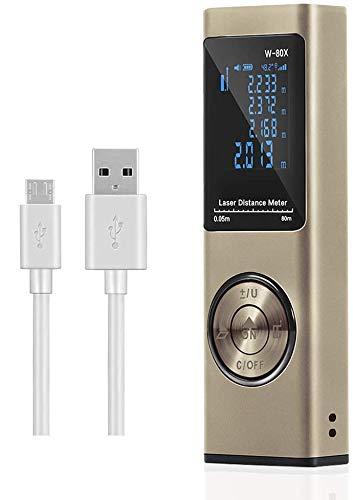 Misuratore Laser 80m,Cshare Telemetro Laser con Sensore Angolo Elettronico,USB Carica Rapida, LCD Retroilluminazione,20 Memoria Dati, Funzione Muto, Superficie,Volume e Misurazione Continua(oro)
