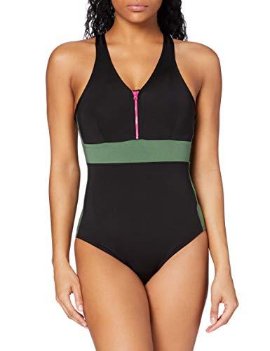 Marca Amazon - AURIQUE Bañador con Cremallera Mujer, Negro (Khaki/black/fuchsia), XL, Label:XL