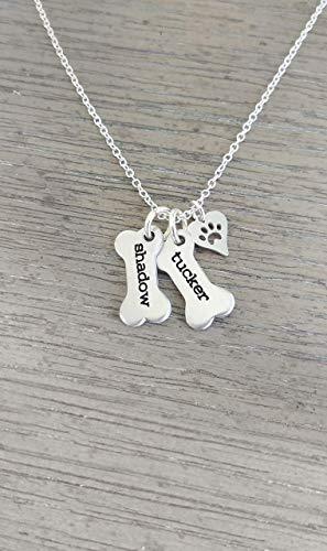 Personalized Dog Bone Necklace with Dog Paw Charm