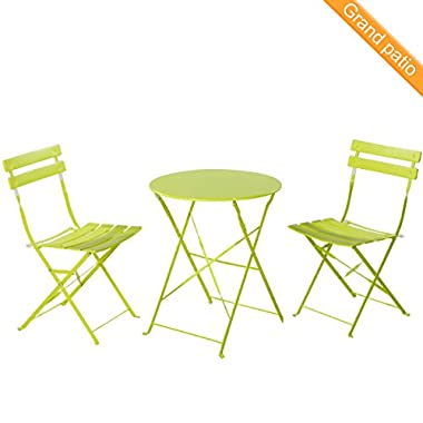 Grand patio Premium Steel Patio Bistro Set, Folding Outdoor Patio Furniture Sets, 3 Piece Patio Set of Foldable Patio Table and Chairs, Lime Green