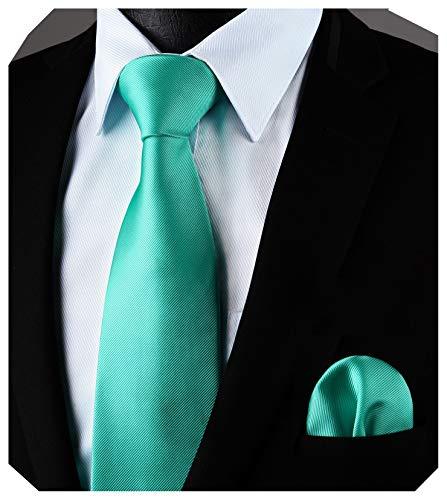 Enlision Cravatta Uomo Green Tinta unita e Fazzoletto Elegante Classico Cravatta Set per il Matrimonio Festa Lavoro Laurea