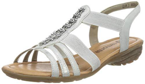 Remonte Damen R3660 T-Spangen Sandalen, Weiß (Ice/Silber 90), 45 EU
