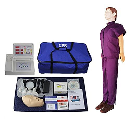 GXGX Cordón Completo Humano CPR Manikin RESUMIÓN CARDIOPULMONARIO SIMULACIÓN CPR Manikin Kit Profesional CPR SIMULADOR Capacitación Modelo de Entrenamiento, fácil de desm