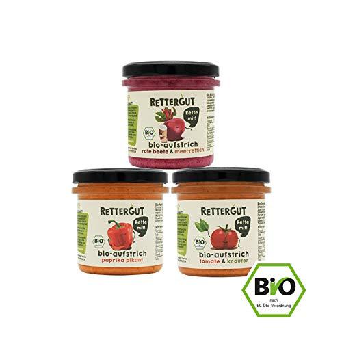 RETTERGUT 12-er Set Retterbox bio-brotaufstriche fürs glas (12x135g) I Aufstriche im Glas aus gerettetem Gemüse I natürliche Zutaten I vegan I Bio-Qualität