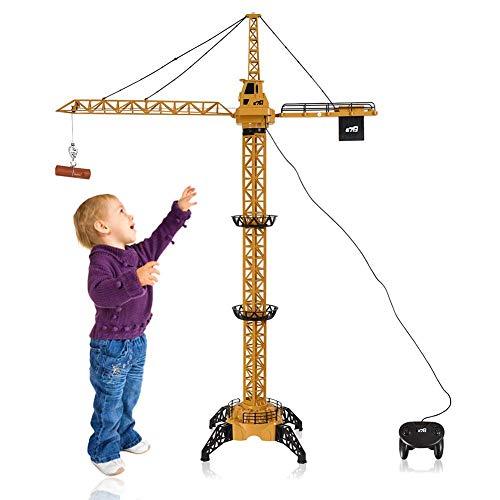 LXDDP Juguete grúa sobre orugas con Control Remoto con Cable 50 Pulgadas Alto para niños, Juego Actividades construcción para Levantar Troncos y Cubos, con luz Torre Trabajo, Altura Ajustable