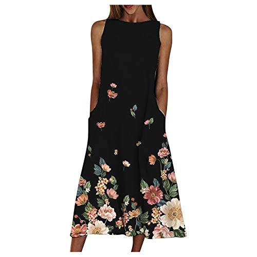 Women Dresses Promotion Sale Clearance Ladies Summer Print Beach Holiday Dress Round Neck Big Swing Pocket Maxi Dress Party Eleagant Dress UK Size S-3XL Black