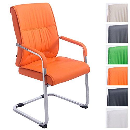 XXL-Freischwinger Anubis mit Kunstlederbezug und gepolsterter Sitzfläche I Pflegeleichter Konferenzstuhl mit Armlehne, Farbe:orange
