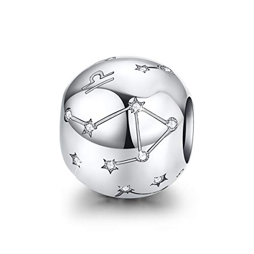 FOREVER QUEEN Librao Zodiac Star Sign 925 Sterling Silver Bead Charm Fits Pandora Bracelets 12 Constellations Charm Compatible with Pandora Bracelet,Womens Jewellery Gift with Box