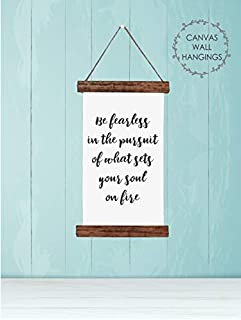 Wood & Canvas Wall Hanging, Be Fearless Inspirational Wall Art Sign Home Décor 9x15-Inch
