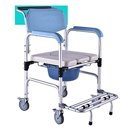 Thaweesuk Shop Shower Transport Portable Medical Commode Wheelchair Bedside Toilet Chair Padded Rolling Seat Bathroom Aluminum Alloy Frame 18.9