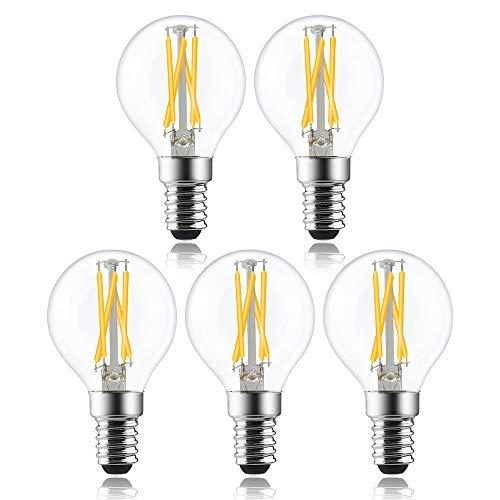 Bonlux Lampadina a LED E14 Forma P45, 4W Dimmerabile, SES a Sfera Filamento, 6000K Luca Bianca Fredda, Equivalenti a 40W SES Mini Lampadina a Incandescenza Piccola in vetro Vintage (Pacco da 5)