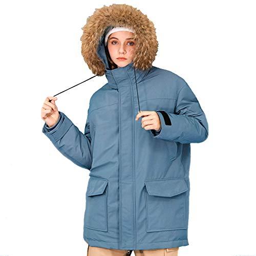 MAZ 2020 Winter Ente Kleid Mantel, Mit Pelz Getrimmt Kapuze Parka Mit Taschenjacke, Für Paare Jacke Outdoor Winter Dicke Skibekleidung,Blau,M.