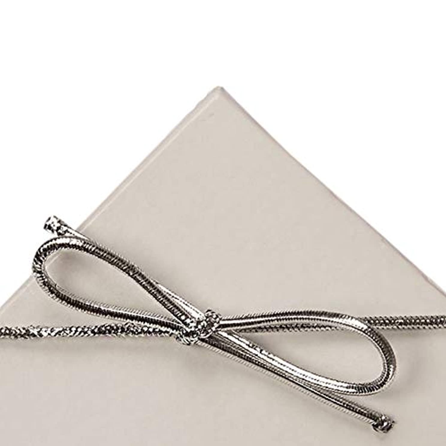 19 Inch Silver Metallic Stretch Loops with Bows (50)