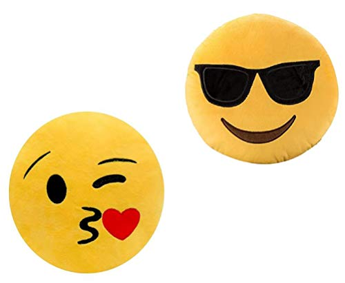 ML Pack 2 x Cojín Emoji Sonrisa, Almohada Emoji Emoticon Relleno Suave Juguete de Peluche 35x35x5cm Cada uno (-Beso-Gafas)