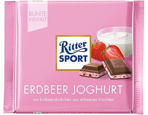 Ritter Sport Strawberry Yogurt Chocolate Bar Candy Original German Chocolate 100g/3.52oz