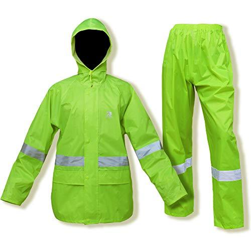 Rain Suits for Men Women Waterproof Hi-Vis Rain Gear Jacket Coat with Pants Workwear (Large, Hi-Vis)