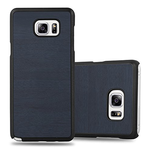 Preisvergleich Produktbild Cadorabo Hülle für Samsung Galaxy Note 5 - Hülle in Woody BLAU Hardcase Handyhülle in Vintage Holz Optik - Schutzhülle Bumper Back Case Cover