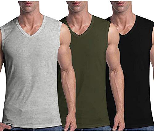 COOFANDY Tank Top Herren Sport Shirt V-Ausschnitt Ärmellos Fitness Muskel Shirt BodybuildingSchwarz Grün Grau L