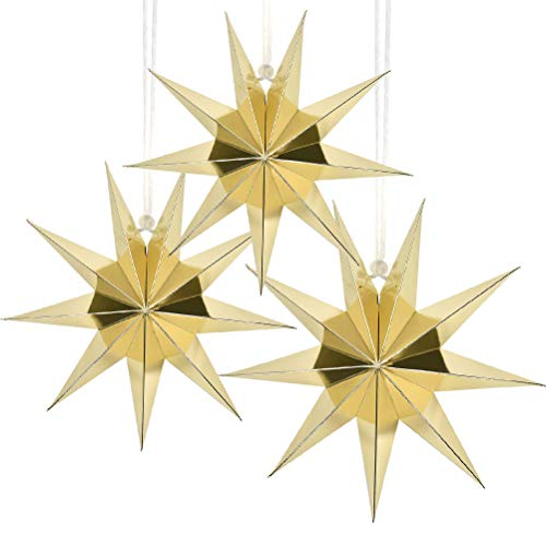 QLOUNI 3pcs 3D Estrella de Papel Decorativo de 30cm Papel Estrellas Decoración para Papel Boda, Cumpleaños, Navidad, Decoración de Fiesta
