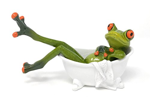 Novelty Frog in Clawfooted Bathtub Figurine, 6W