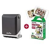 KiiPix Fotodrucker Schwarz, Smartphone Kompatibler Sofort-Fotodrucker, Mit Fujifilm Instax Mini Starterpaket, Polaroid- Bilder,Minidrucker fürs Handy, Gadgets fürs Smartphone