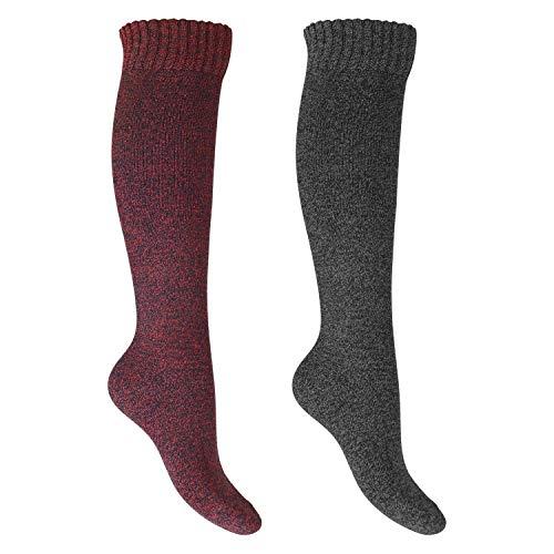 Footstar Damen Frottee Kniestrümpfe (2 Paar), warme Baumwollsocken mit Thermo-Effekt - Rot-Grau 35-38