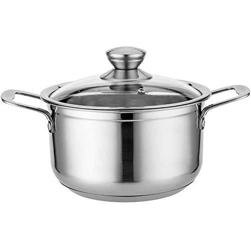 YFGQBCP ollas Cocina Pote del Acero Inoxidable con Cristal de Utensilios de Cocina Tapa, Olla, Perfecto for Las sopas, guisos cazuelas, Compatible con Todo Tipo de cocinas (Size : 26cm)