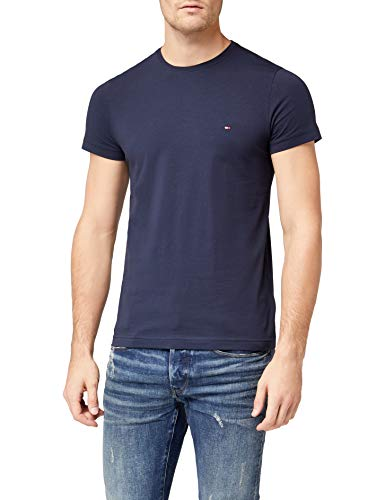 Tommy Hilfiger Herren CORE Stretch Slim CNECK Tee T-Shirt, Blau (Navy Blazer 416), Small