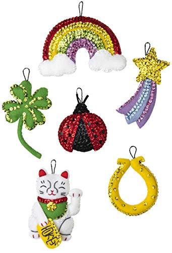 Bucilla Felt Applique Ornament Kit, Feeling Lucky, Set of 6