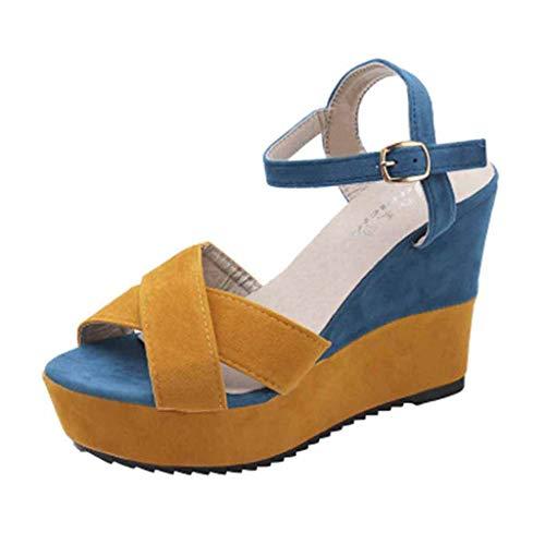 Women Wedges High Heels Peep Toe Sandals,veyikdg Ladies Simple Mixed Colors Buckle Open Toe Casual Loafers Shoes Teenage Girls Platform Outside Walking Bohemia Beach Sandals Shoes (36, Yellow)