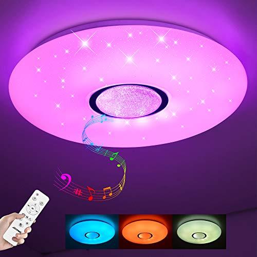 Led Deckenleuchte mit Bluetooth Lautsprecher und Fernbedienung JDONG 36W,sternenhimmel, dimmbar, 2800-6500 Kelvin, Farbwechsel, IP44 Wasserfest Deckenlampe (ohne APP-Steuerung)