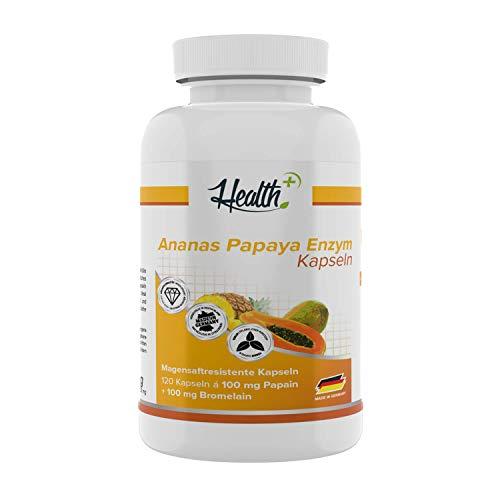 Health+ Ananas-Papaya Kapseln - 120 Enzym-Kapseln mit natürlichen Verdauungsenzymen aus Bromelain und Papain, Made in Germany